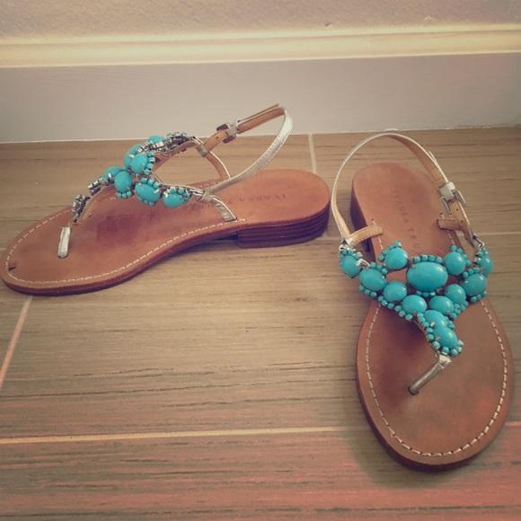 ca27882a613431 Ivanka Trump Blue Jeweled Sandals